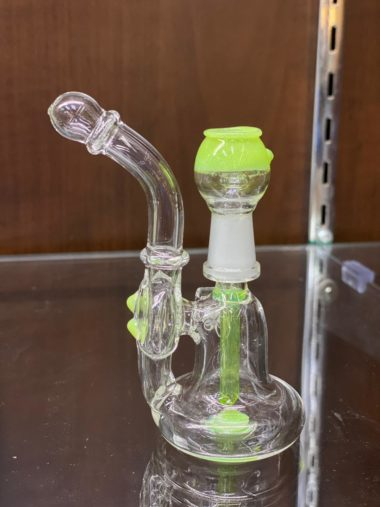 Small Greenish tips Recycler Dab Rig
